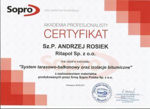 Certyfikat - Izolacje